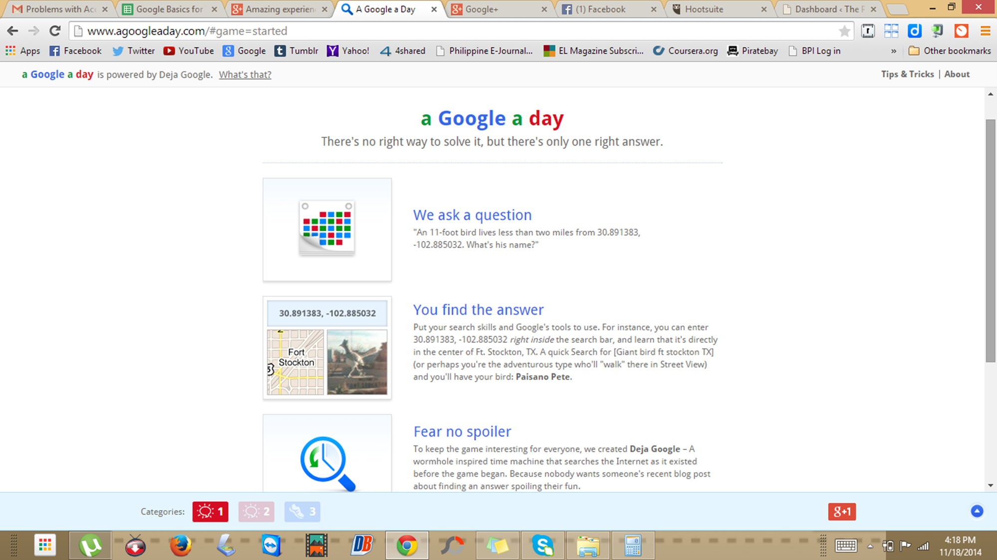 "Playing ""a Google a day"""