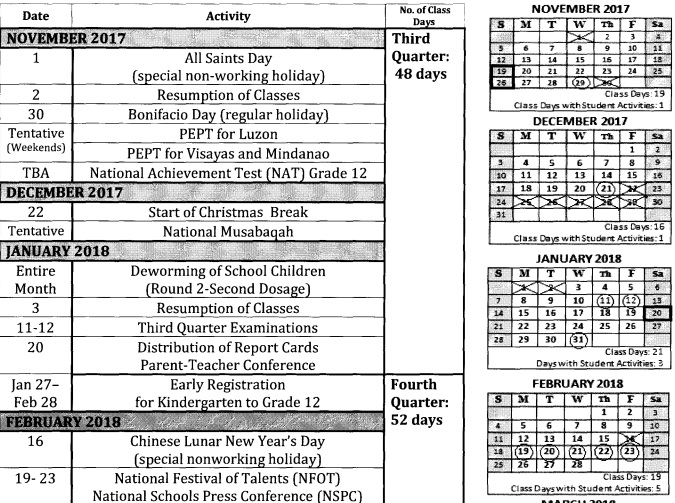 deped school calendar Free printable deped school calendar for school year 2017-2018 on may 5, 2017, the department of education (deped) issued deped order no 25, s 2017 entitled school calendar for school year 2017-2018 based on the information in that order, i created a school calendar (june 2017 to april 2018) using microsoft.
